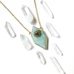 Amazonite Crystal & Dainty Druzy Gold Necklace